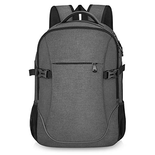 Lightweight Travel Laptop Backpack Dark Grey for School College Student Officer Men & Women, Up to 17 inch Compatible with MacBook/Notebook (Shine Pack)