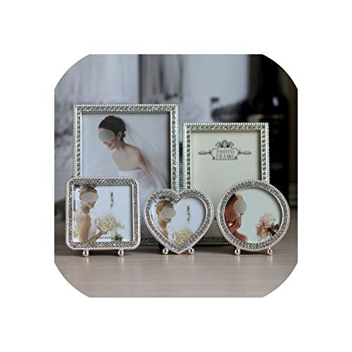 DESIRE DESTINATION Luxury Shiny Metal Picture Frame with Silver Plated and Shiny Silver Stones MPF076,3 inch Round