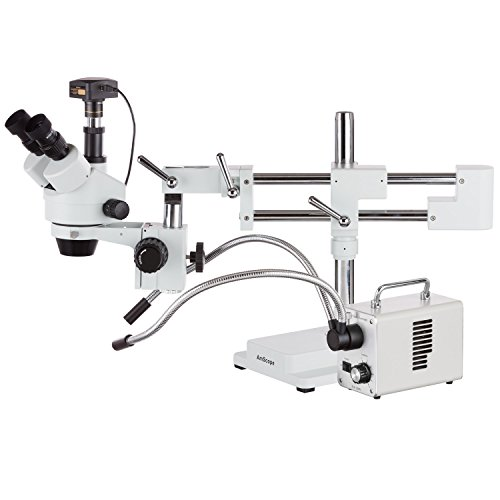 AmScope 3.5X-180X Zoom Stereo Trinocular Microscope on Dual-Arm Boom Stand with Dual-Fiber-optic LED Illuminator + 18MP USB3.0 - Vista Optics Limited