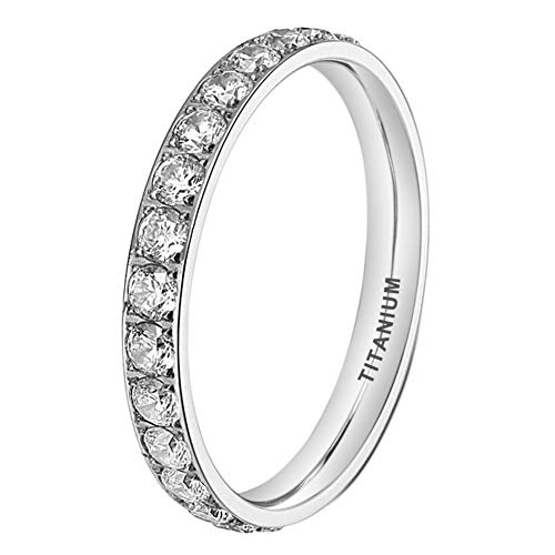 iTungsten 3mm Women Titanium Ring Men Eternity Wedding Engagement Band Cubic Zirconia Inlay Comfort Fit ()