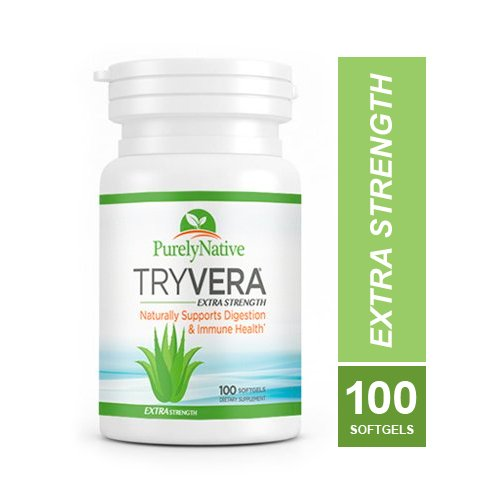 TRYVERA Extra Strength Aloe Vera Gels - Relieves Bouts of Painful Symptoms Associated with Interstitial Cystitis, Leaky Gut, Constipation, Irritable Bowel Syndrome, Ulcerative Colitis, 100 Softgels