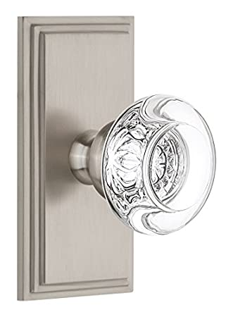 2.375 Grandeur 810778 Carre Plate Passage with Bordeaux Crystal Knob in Polished Brass