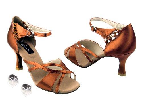 Scarpe Da Ballo Da Donna Per Ballare Latino Salsa Tango Cd2056 2,5 Tacco Con Protezioni Tallone In Raso Marrone Chiaro