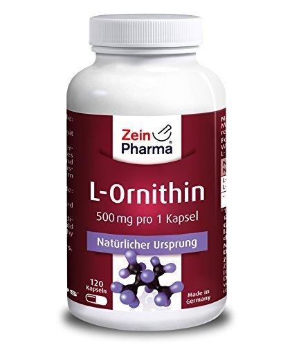 L-Ornithin 500 mg - gewonnen aus der Aminosäure L-Arginin - 120 Kapseln - von ZeinPharma®