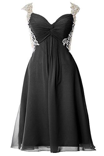 Women Straps Gown Short Dress Prom Lace Evening Party Chiffon Formal MACloth Schwarz wq1E1