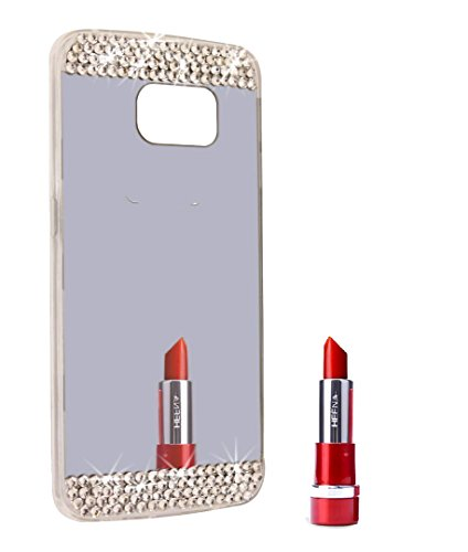 Berry Accessory(TM) Beauty Handmade Bling Diamond Rhinestone Mirror Soft TPU Silicone Case Back Cover for Samsung Galaxy S6 Edge Plus + Berry logo stand holder (Gray Mirror + Bling) (Bling Basic Grey)