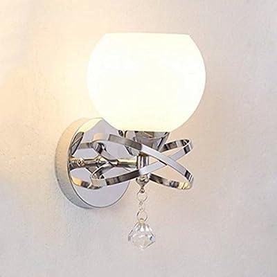 Decomust Milk White Crystal Wall Light Chrome Finish Modern Luxury Globe Ball Shape Wall Sconce Lighting Fixture Bedroom Bathroom Lamp (White/Chrome)