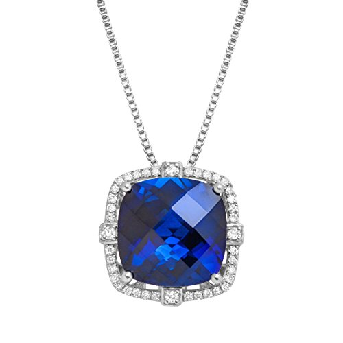 Cushion-Cut Created Sapphire and Diamond Pendant in Silver (1/5 cttw, I-J Color, I2-I3 Clarity), 18
