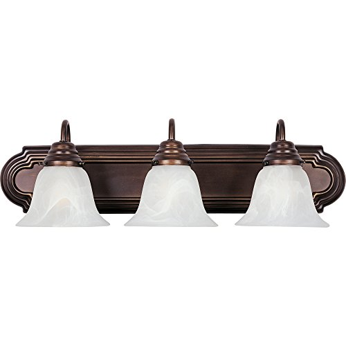 Maxim 8013MROI Essentials 3-Light Bath Vanity, Oil Rubbed Bronze Finish, Marble Glass, MB Incandescent Incandescent Bulb , 60W Max., Dry Safety Rating, Standard Dimmable, Metal Shade Material, Rated Lumens ()