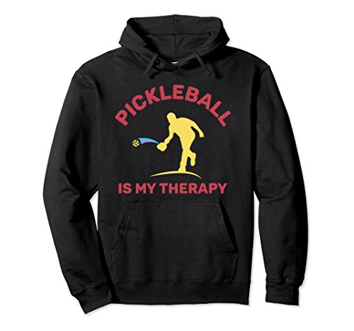 Unisex Pickleball Is My Therapy {Hooded Sweatshirt} Large Black