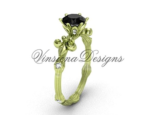 14kt yellow gold diamond leaf and vine, enhanced Black Diamond engagement ring VD20838 (Gold Enhanced Yellow Diamond)
