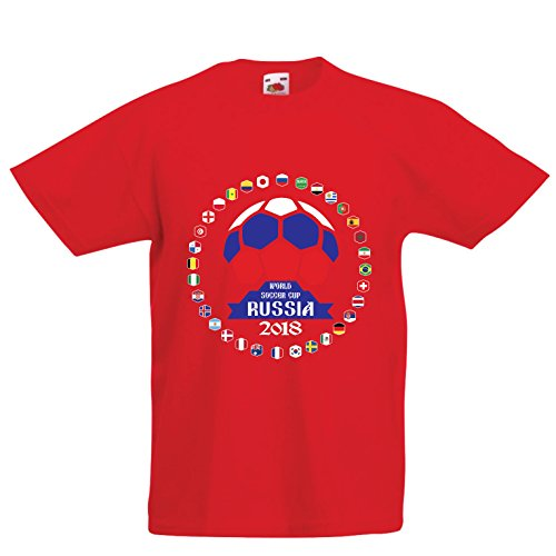 (lepni.me Kids T-Shirt National Football Team Flags - Russia 2018 World Cup (14-15 Years Red Multi)
