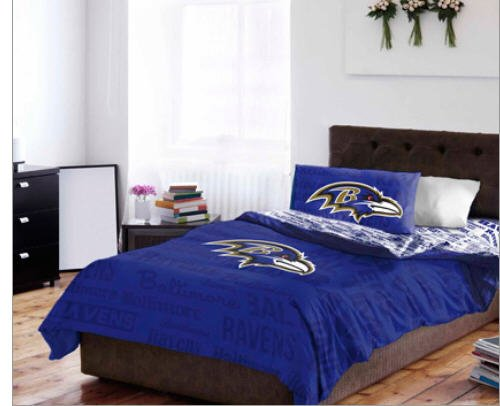 Baltimore Ravens Twin Comforter & Sheet Set (4 Piece Bedding)