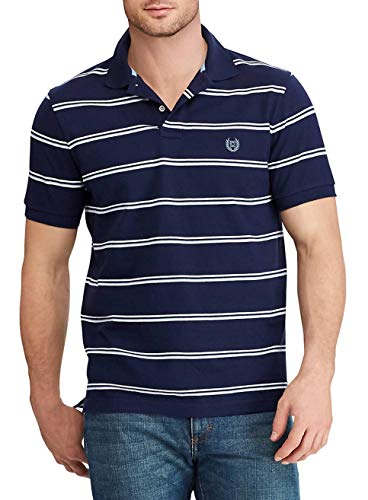 Chaps Men's Classic Fit Cotton Mesh Polo Shirt (Navy Stripe Multi, -