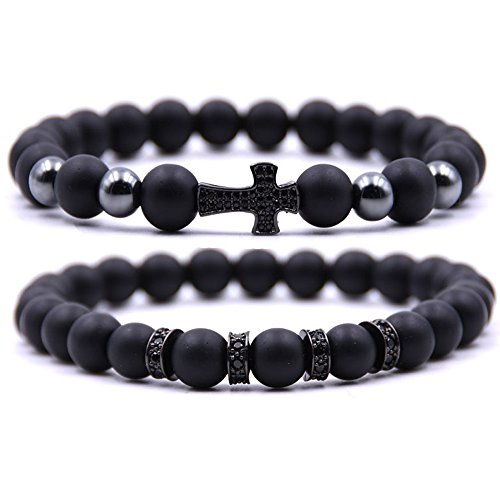 Dolovely 8mm Stone Beads Cross Charm Bracelet CZ Black Matte Onyx Bracelet Set for Men Women ()