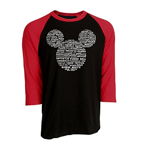 Out Kids Sweatshirt - DisGear Name That Disney Character Adult Mickey Park Tee (Raglan Black Red, Medium)