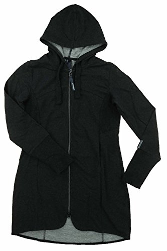 Mondetta Womens Andrea Full Zip Long Length Hooded Jacket (Small, Charcoal Heather)