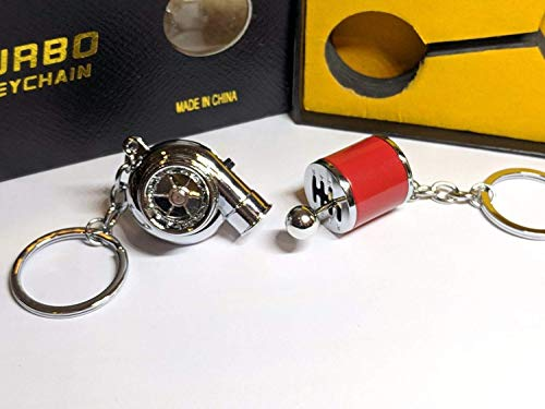 Be-Creative Electric LED Turbo Charger Keyring 2 Turbo Sounds,Spin,Light Retail Packing (Red Gear + Chrome Turbo):