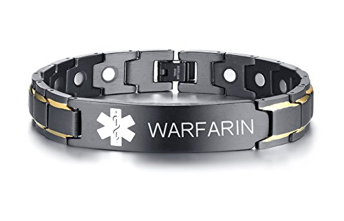 WARFARIN Black Ion Plated Stainless Steel Magnetic Therapy Health Emergancy Medical Alert ID Bracelets for Men Dad,8.6