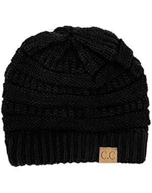 Trendy Warm Chunky Soft Stretch Cable Knit Beanie Skully