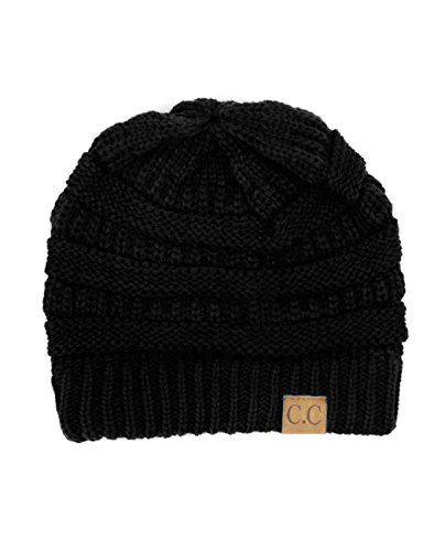 Trendy Warm Chunky Soft Stretch Cable Knit Beanie Skully, Black Chunky Cable Hat