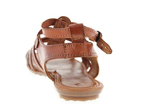 Womens Cognac Huaraches Meksikansk Gladiator Skinn Sandaler Hånd Vevet Chedron