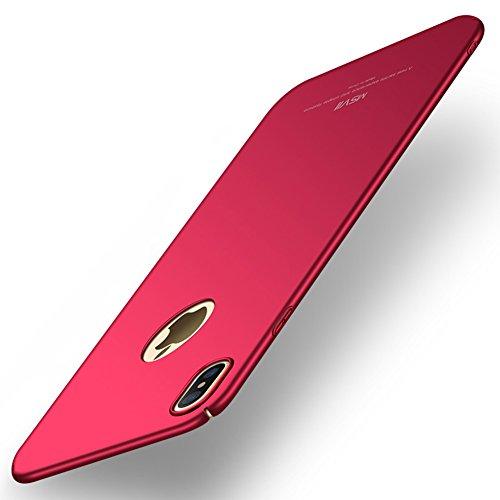 Apple iPhone X / iPhone 10 Hülle, MSVII® Sehr Dünn Hülle Schutzhülle Case Und Displayschutzfolie für Apple iPhone X / iPhone 10 - Rot / RED JY00385