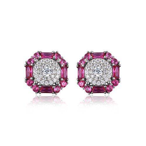 JewelryPalace 1.2ct Rubis de Synthese Boucles d'Oreilles en Argent 925