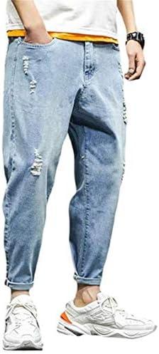[こうさん] メンズ ジーンズ ダメージ加工 夏 カジュアル ゆったり ハンサム お洒落 テーパード デニムパンツ 通勤 通学
