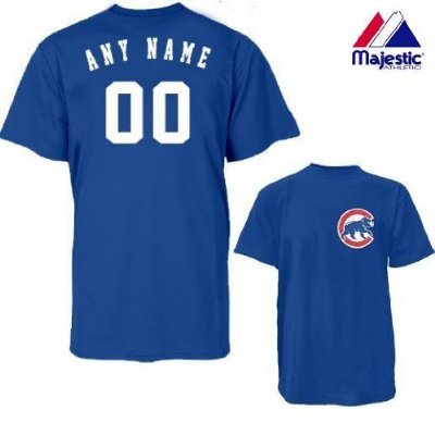 (Chicago Cubs Personalized Custom (Add Name & Number) YOUTH SMALL 100% Cotton T-Shirt Replica Major League Baseball Jersey)