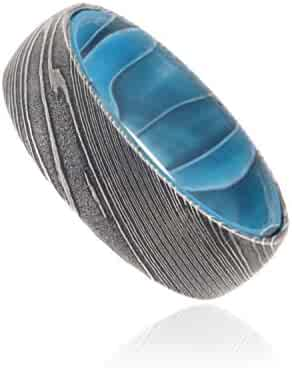 7mm Wide Damascus Steel Ring Beautifully Etched Damascus Steel Bands Wedding Rings with a Blue Ocean Sport Sleeve
