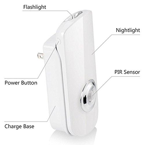 Bonashi LED Night Light Flashlight Motion Sensor Cut Light 3-in-1, Rechargeable Emergency Light, Energy Saving Auto Sensing Portable Wall Mount Light - White