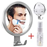 Fogless Shower Mirror, GlobaLink Fogless Shaving Mirror with Anti-Fog Spray [New Upgraded] Anti Fog Mirror with 3 Strong Suction Cup and Razor Hook Fog Free Small Mirror in Bathroom, 19 * 15cm