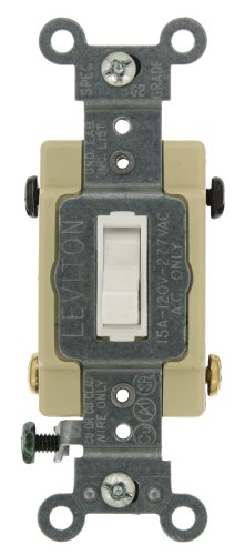 Leviton 54504-2W 15-Amp, 120/277-Volt, Toggle Framed 4-Way AC Quiet Switch, Commercial Grade, Grounding, White (4 Way Switch)
