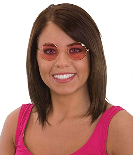 24890/94 Pink Rose Colored Lens Glasses Hippie Glasses Lennon Glasses (Pink - Lenses Rose Coloured