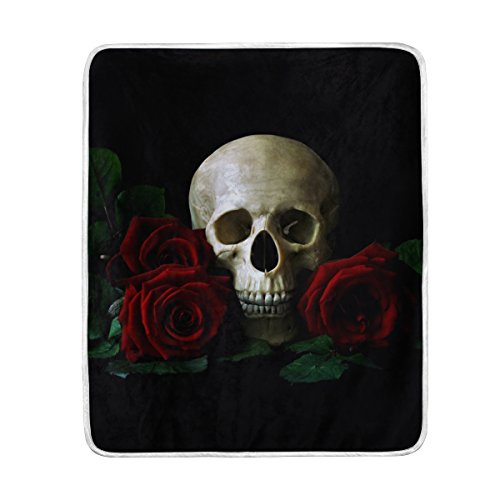 Fleece Blanket Super Soft Warm Fuzzy Anti-static Double-sides Reversible Lightweight Bed or Couch Sofa Blanket with Skull And Roses Pattern Throw Blanket (50