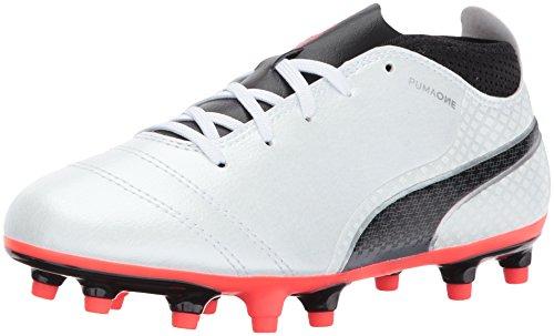 PUMA Unisex ONE 17.4 FG Jr Soccer Shoe, White Black-Fiery Coral, 4.5 M US Big Kid (Soccer Fg Shoes Jr Outdoor)