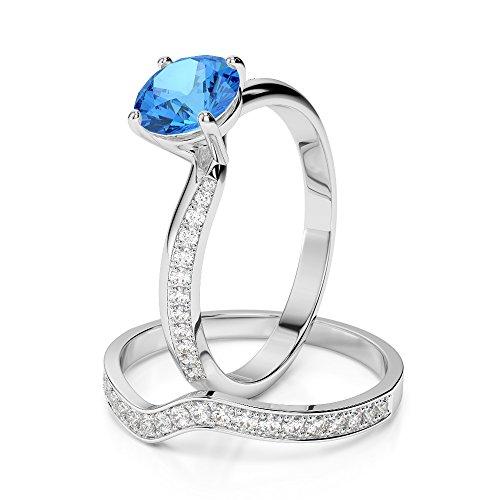 Or blanc 18carats 1CT G-H/VS sertie de diamants Coupe ronde Topaze bleue et de mariage Bague de fiançailles et ensemble de Agdr-2017