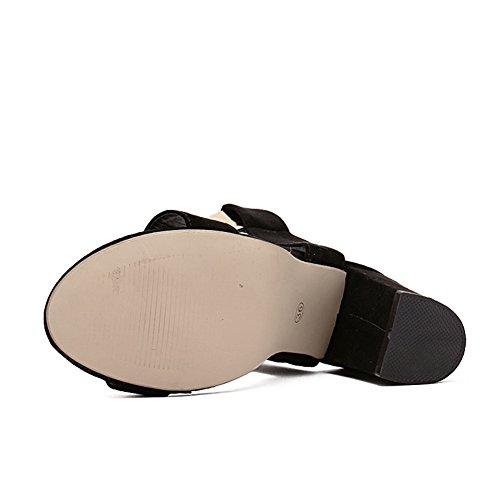 Cybling Svarta Blocket Hög Klack Sandaler För Kvinnor Enkel Plattform Ankelbandet Chunky Sandal