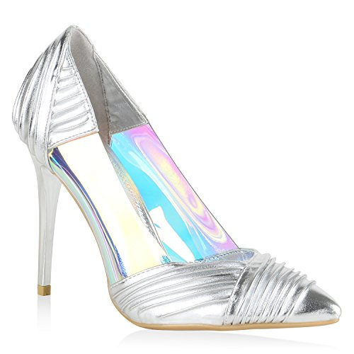 Stiefelparadies Elegante Spitze Pumps Damen High Heels Lack Stilettos Animal Print Flandell Silber Cabanas