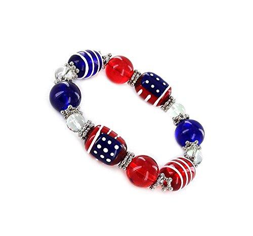 Linpeng Woman Stretch Bracelet/Hand painted USA flag/size 13x18mm/Bracelet Length 7.5