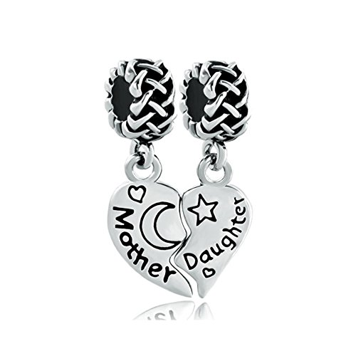 - Q&Charms Mother Daughter Charms 2pcs Dangle Heart Moon Star Sale Bead Fit Pandora Chamilia Charm Bracelet