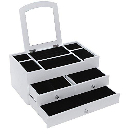 Songmics Schmuckkästchen Kosmetik Organizer Ordnungsständer mit Spiegel 3 Schichten mit Schubladen weiß JBC54W