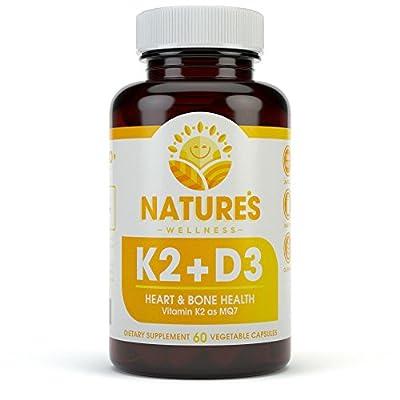 Vitamin K2 mk7 and D3 - Naturally Supports Heart and Bone Health + Immune Support | Vitamin K & D Complex | Gluten Free | Non GMO - D3 5000 + K2 100 | 60 Vegetarian Capsules