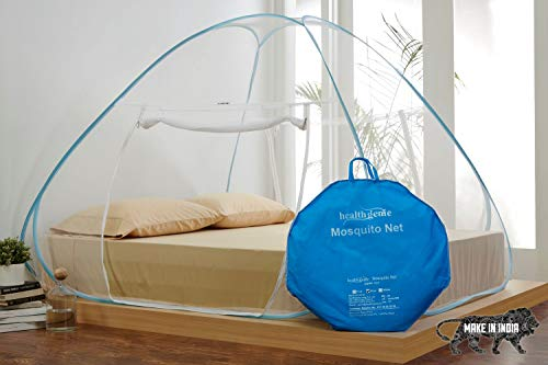 Healthgenie King Size Mosquito Net for Double Bed with Repair Kit (7 * 7 Feet) – Blue