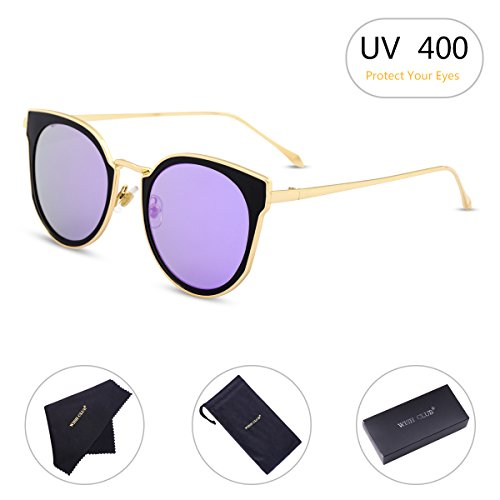 WISH CLUB Cat Eyes Flat Lens Fashion Sunglasses for Women Horn Rimmed with UV 400 Eyewear for Girls Metal Frame Sun Glasses (Purple) - Purple Frame Glasses Metal