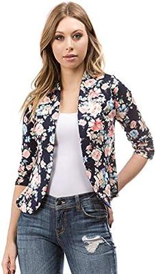 Bubble B Women's Plus Size Floral Print Blazer Button Front Jacket Navy Multi 2X