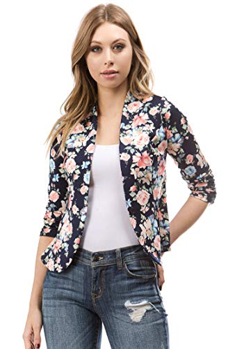 Bubble B Women's Plus Size Floral Print Blazer Button Front Jacket Navy Multi 2X ()