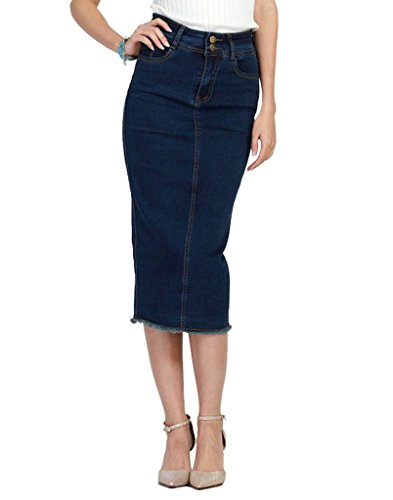 Dicross Women Button-Front Denim Skirt With Zipper (Straight Denim Skirt)