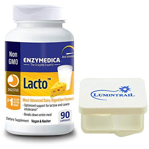 Enzymedica Lacto Advanced Dairy Digestive Enzyme Formula, 90 Capsules  Bundle with a Lumintrail Pill Case